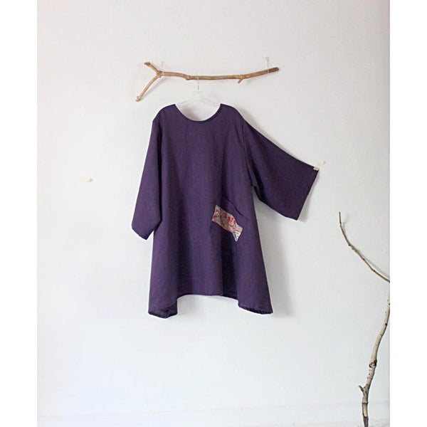 made to order linen tunic with large off kilter pocket-tunic-linen clothing by anny