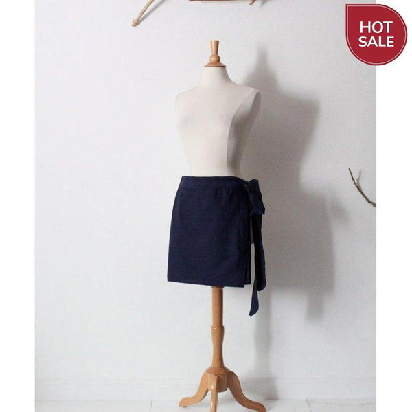 navy cotton mini wrap skirt ready to wear - linen clothing by anny