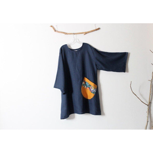 custom midnight blue linen short dress with large off kilter rounded pocket