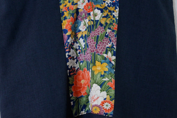 size S midnight blue sparrow linen dress with Japanese floral kimono silk panel