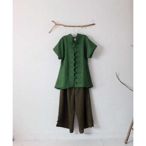 linen outfit kelly green top and olive pants-linen outfit-linen clothing by anny