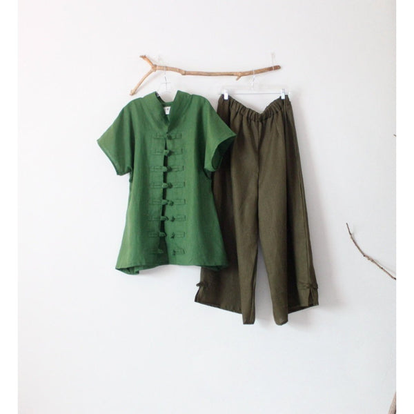 linen outfit kelly green top and olive pants - linen clothing by anny