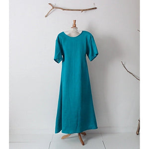 custom light weight linen A line dress short sleeves-linen clothing by anny