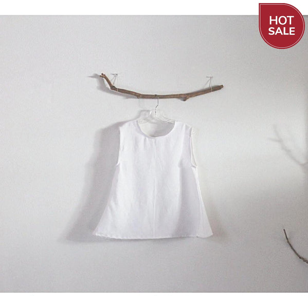 ready to wear simple wavy white linen top-top-linen clothing by anny