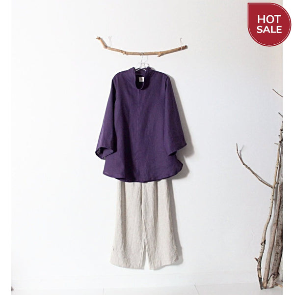 ready to ship purple linen asian blouse size M ready to wear-blouse-linen clothing by anny