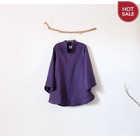 ready to ship purple linen asian blouse size M ready to wear - linen clothing by anny