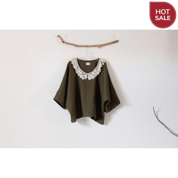 ready to wear lace collar oversized olive linen top-top-linen clothing by anny
