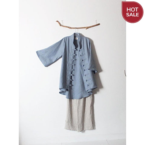 ready to wear size M icy blue heavy linen jacket-jacket-linen clothing by anny