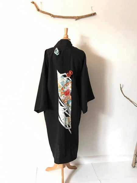 ready to wear heavy black linen haori coat