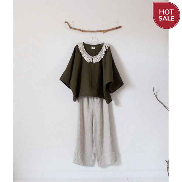 Sold / ready to wear lace collar oversized olive linen top - linen clothing by anny