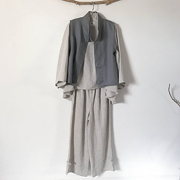 Custom linen outfit including blouse, vest and pants