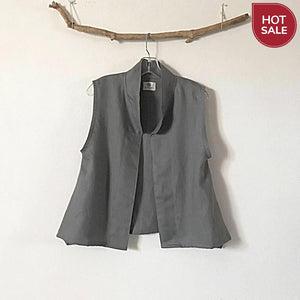 Sold / minimalist gray linen vest ready to wear size M - linen clothing by anny