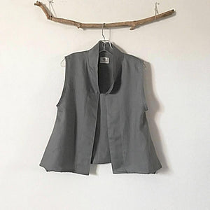 minimalist gray linen vest ready to wear size M-vest-linen clothing by anny