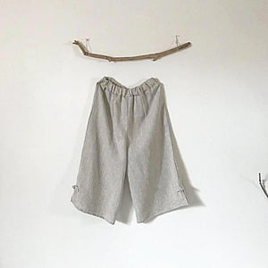 custom linen elastic waist peasant Capri pants-linen clothing by anny