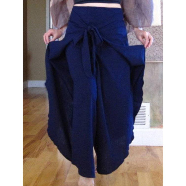 cotton wrap around pants for waist 36 inches and under made to order - linen clothing by anny