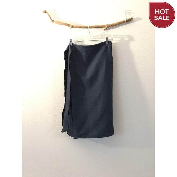 Sold / midnight blue linen minimalist mid calf length wrap skirt only ready to wear - linen clothing by anny
