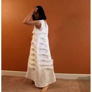 Alternative eco wedding linen spiral pleat dress made to measure listing - linen clothing by anny