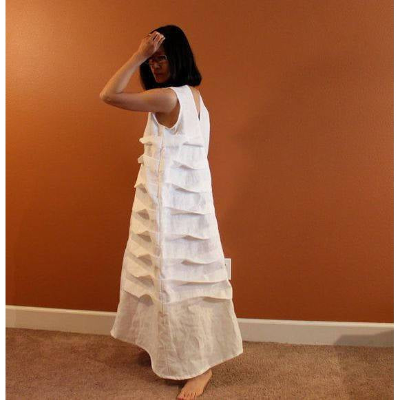 Alternative eco wedding linen spiral pleat dress made to measure listing-linen clothing by anny