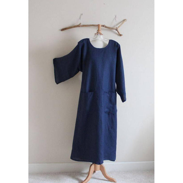 custom bell sleeve A line linen dress-linen clothing by anny