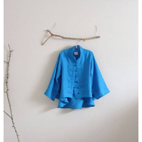 Custom linen jacket with frog toggle closures - linen clothing by anny