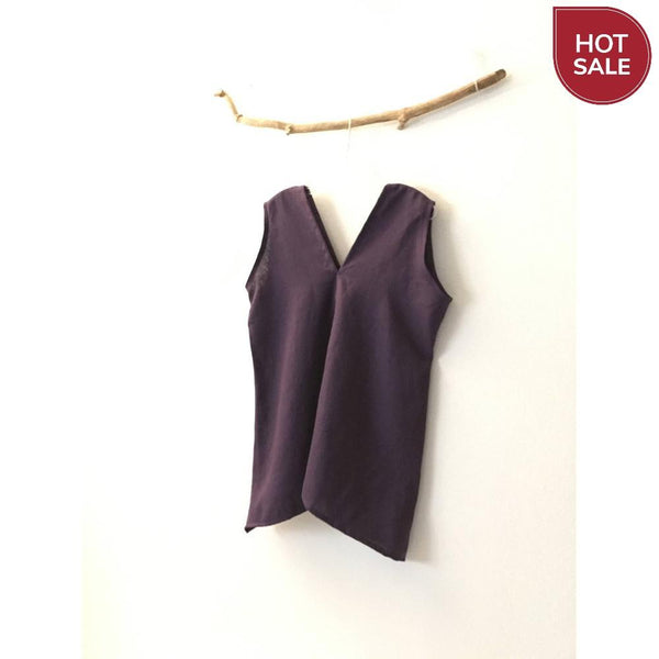 Free US Shipping / Eggplant purple linen sparrow top Size M ready to wear-top-linen clothing by anny