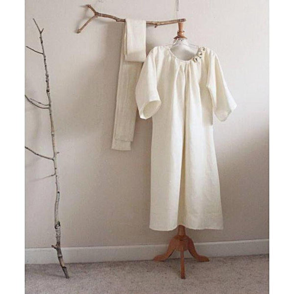 custom obi linen dress pleated neckline-linen clothing by anny