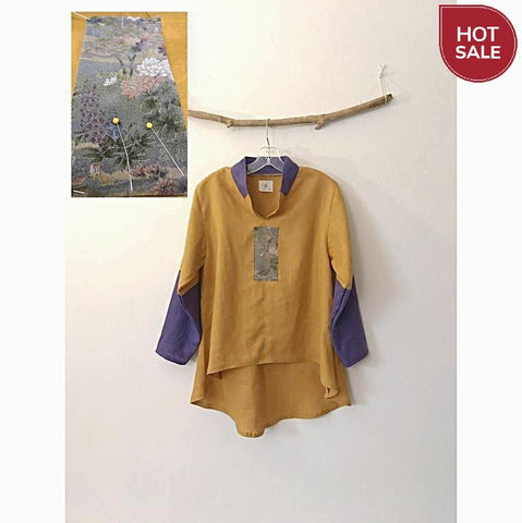 size M autumn gold purple linen blouse-blouse-linen clothing by anny
