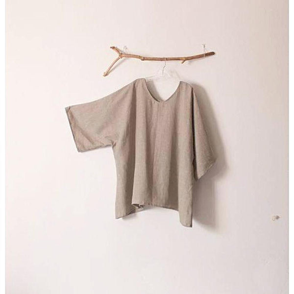 custom plus size linen V shape neckline  top - linen clothing by anny