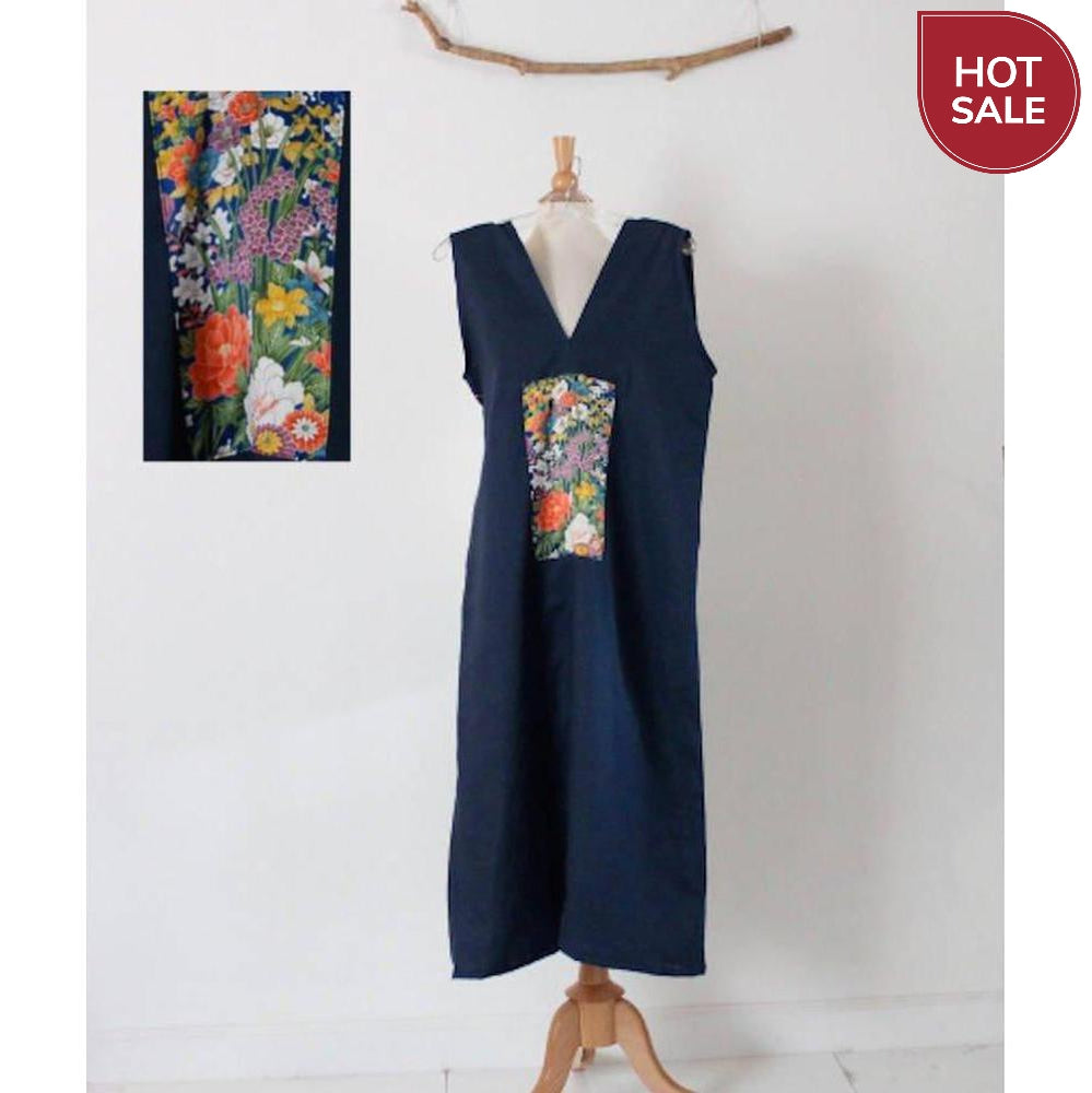 size S midnight blue sparrow linen dress with Japanese floral kimono silk panel-dress-linen clothing by anny