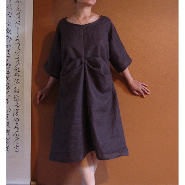 Two folds kimono sleeve linen dress custom made