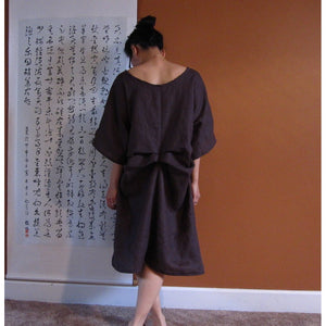 Two folds kimono sleeve linen dress custom made - linen clothing by anny