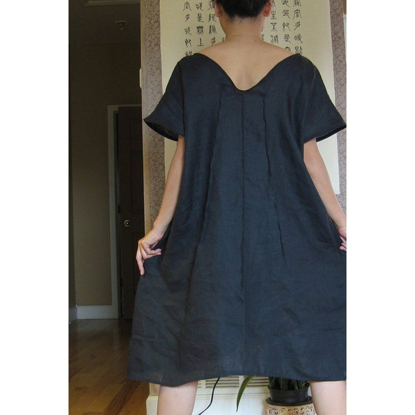 custom running with lines pure linen slip dress-linen clothing by anny