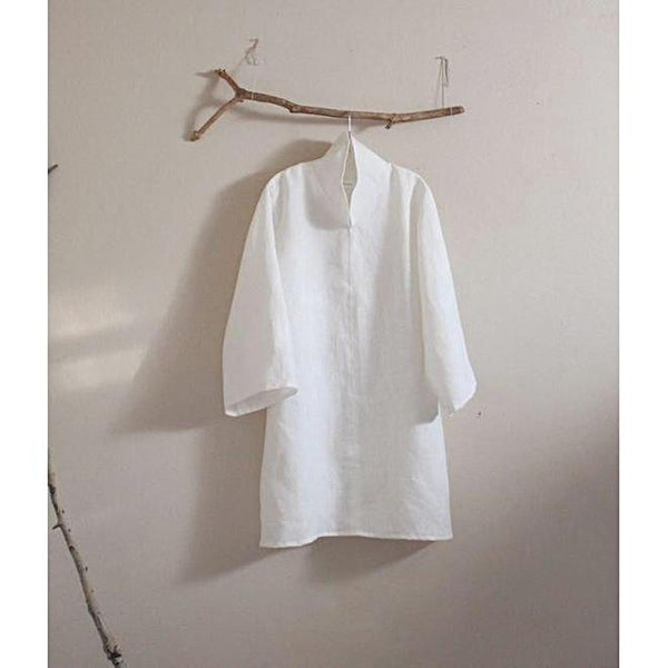 custom heavy linen cloud collar tunic length blouse-blouse-linen clothing by anny
