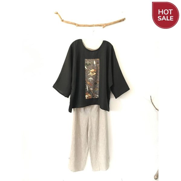 ready to wear black linen oversized kimono top-top-linen clothing by anny