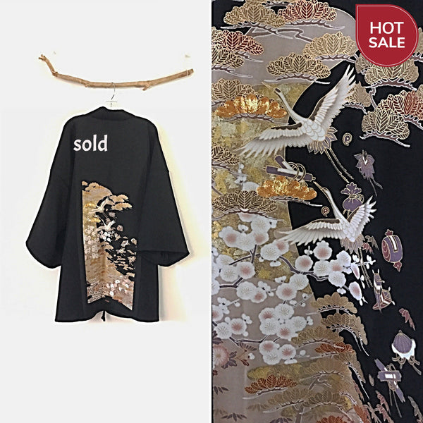 Sold / Collectable black crepe wool haori inspired jacket with gold clouds and flying cranes kimono silk panel - linen clothing by anny