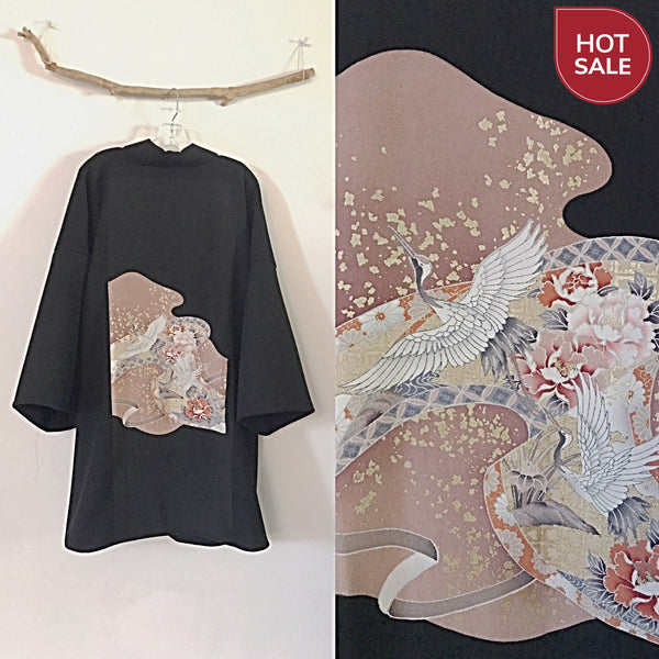 Collectable black crepe wool haori inspired jacket with dancing cranes  and gold splashes kimono silk panel - linen clothing by anny