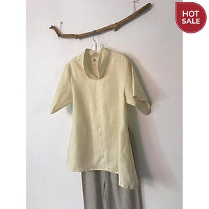 ready to wear cream linen short sleeve blouse size M - linen clothing by anny