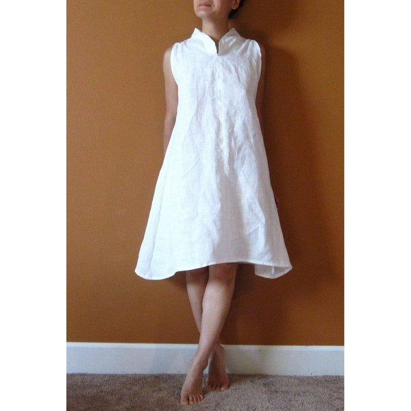 custom chipao collar slim shoulder linen tunic length dress-linen clothing by anny