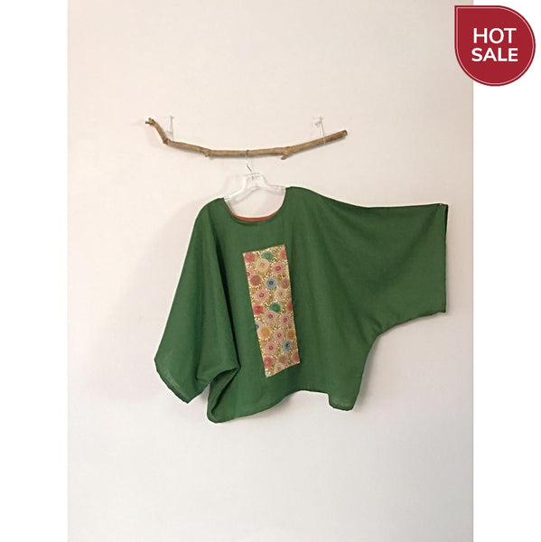 oversized Kelly green linen top with vintage kimono panel ready to wear - linen clothing by anny
