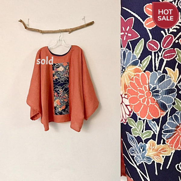 oversized orange linen top with vintage kimono panel ready to wear-top-linen clothing by anny