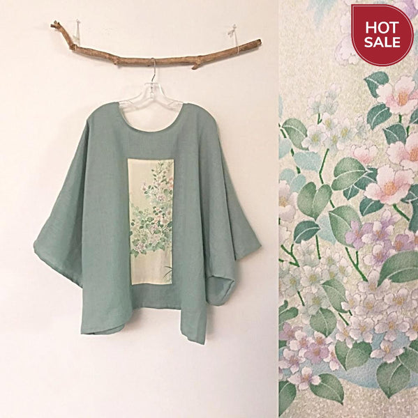 oversized willow green linen top with vintage kimono panel ready to wear-top-linen clothing by anny
