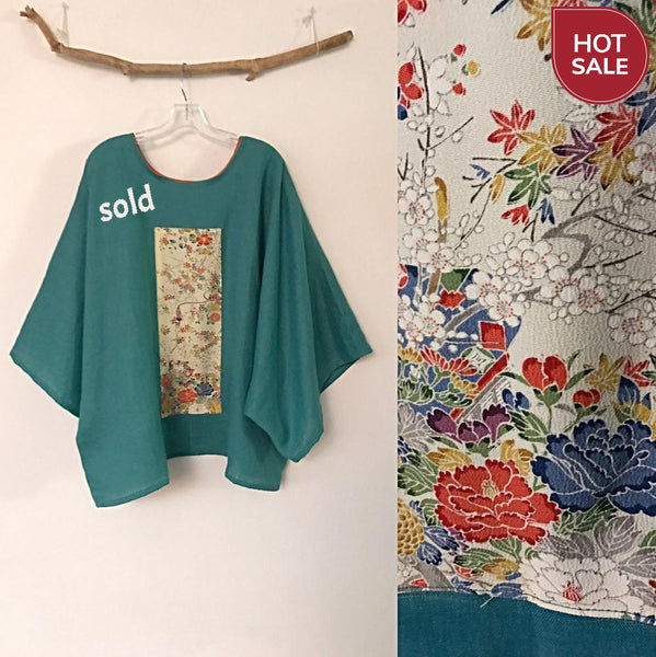 sold / oversized sea green linen top with vintage kimono panel ready to wear - linen clothing by anny