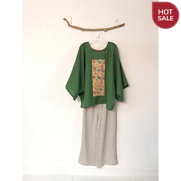 oversized Kelly green linen top with vintage kimono panel ready to wear / kimono linen top-top-linen clothing by anny