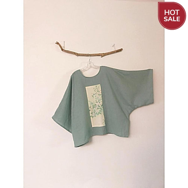 oversized willow green linen top with vintage kimono panel ready to wear - linen clothing by anny
