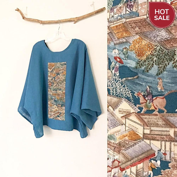 oversized teal linen top with vintage kimono panel ready to wear-top-linen clothing by anny