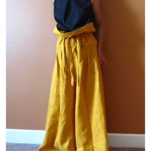 custom drawstring waist lotus wide leg pants-linen clothing by anny