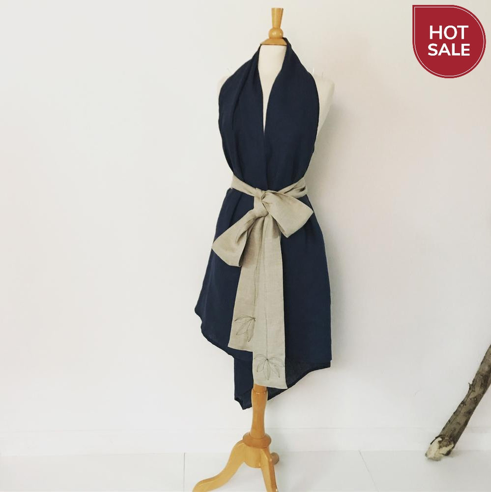Sold / midnight linen chic low cut halter dress with natural obi sash - linen clothing by anny