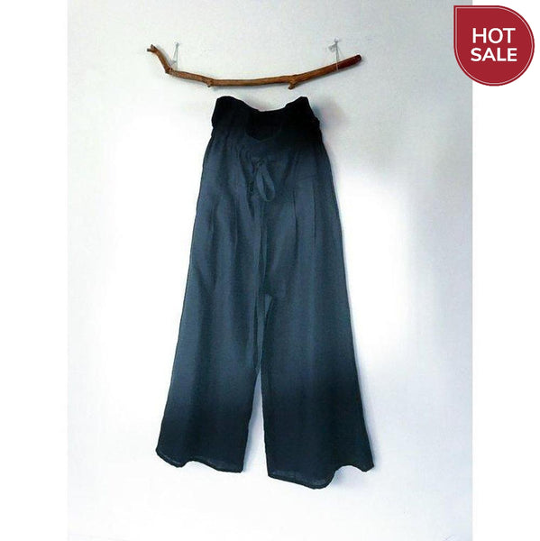 black linen drawstring lotus wide leg pants with side pockets - linen clothing by anny