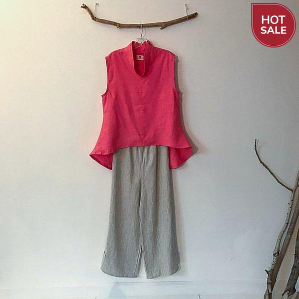 Pink linen wavy end top size M ready to wear-top-linen clothing by anny
