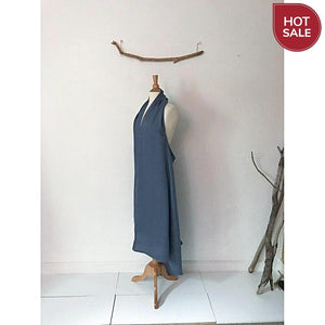 Sold ready to wear light blue linen chic low cut halter dress - linen clothing by anny